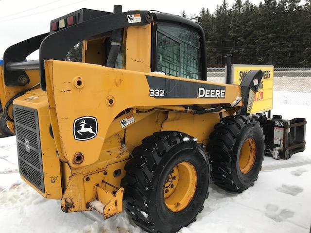 John Deere 332 skid steer with snowblower for sale