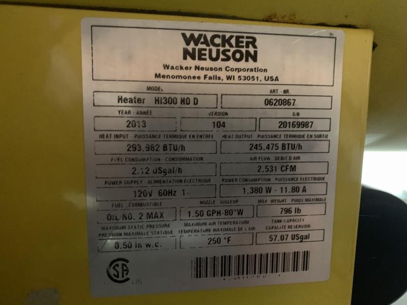 Wackier Neuson HI300 HD heater